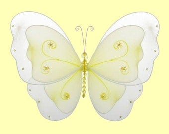 "5""  NYLON BUTTERFLY DECORATION small Yellow Sasha hanging butterflies wall ceiling baby nursery room decor - girls bedroom, birthday party"