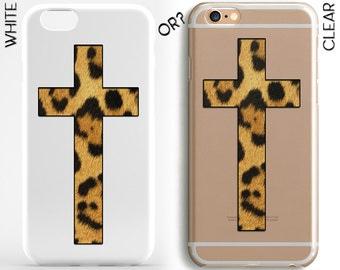 Leopard Сross iPhone Case Clear iPhone 7 Case Leopard Galaxy Case iPhone 6 Clear Cross iPhone 6 Plus Case iPhone 4-5 Case Leopard Phone Case