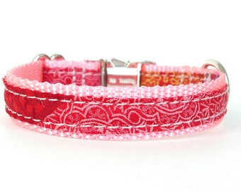 Little Pink Collar, Pink Girl Dog Collar, Pink and Red Dog Collar, Girl Puppy Collar, Extra Small Girl Dog Collar, Rose Pink Collar