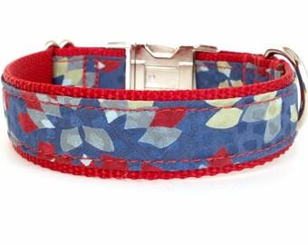 Designer Dog Collar, Red and Blue Dog Collar, Small Dog Collar, Stylish Dog Collar, Fancy Fabric Dog Collar, Modern Dog Collar