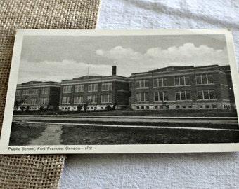 Vintage Postcard Public School Fort Frances, Ontario, Canada