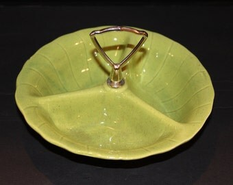 Vintage Lane & Company Divided Snack / Candy Dish, Art Pottery, Mid Century 1960s, Chartreuse Green, California Pottery (H023)