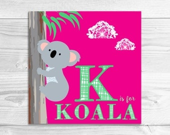 Instant Download: K is for Koala Wall Art Print // Baby Art, Nursery Art, Alphabet Art