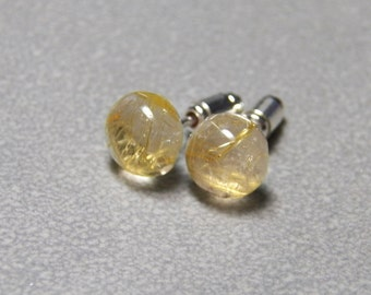 6mm, 8mm and 10mm Golden Rutilated Quartz Gemstone Post Earrings with Sterling Silver