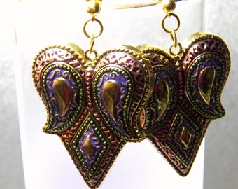 Gold, Purple and Green Paisley Dangle Earrings with Gold Plated Posts