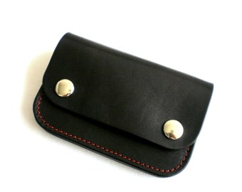 Celyfos ® Minimal Wallet Hand made Greek leather veg tanned Biker style Personalized Black