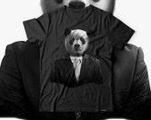 Panda Bear Business Wild Animal Men Black Tshirt S5XL NEW  Wellcoda