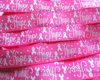 "7/8"" Hope Breast Cancer Awareness Hot Pink US Designer Grosgrain Ribbon"