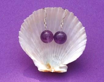 Sterling silver earrings with Amethyst gemstone bead drops. hypoallergenic earrings, purple gemstone earrings, zodiac Aries Sagittarius