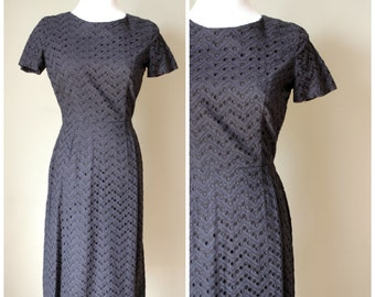 1960s Navy Blue Zig-Zag Eyelet Fabric Dress