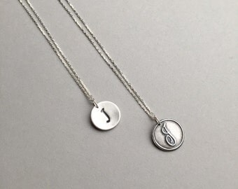 """Monogram Dainty Pendant, Personalized Initial Charm, Pure Silver Handstamped Pendant, Modern Minimalist Jewelry, 15""""-17"""", Gifts for Women"""