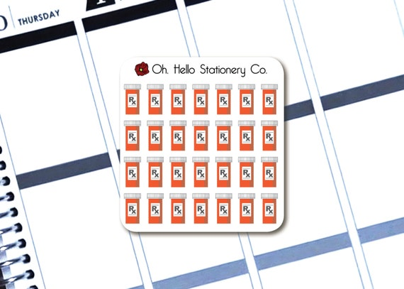 28 Pill Bottle/Perscription Stickers Planner Stickers for