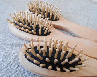 Small 100% Natural Organic Wooden Beech Hair Brush Massage