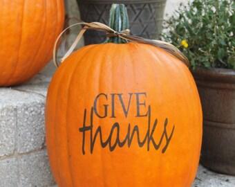 Give Thanks Decal, Thanksgiving Decal, Pumpkin Decal Vinyl - DIY Pumpkin Vinyl