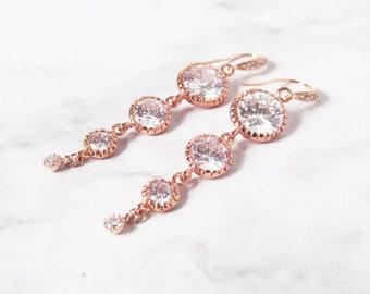 rose gold earrings bridal, rose gold crystal earrings, rose gold earrings, rose gold drop earrings, rose gold wedding earrings,
