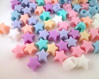 10mm Pastel Fairy Kei Star Beads, Kawaii beads, #726