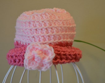 Baby Girl Crocheted Hat, Pink Baby Hat