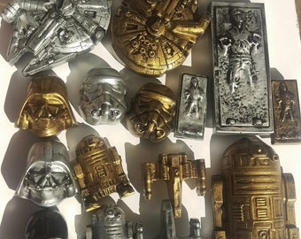 Star Wars Magnets (Han Solo in carbonite, Millennium Falcon, R2D2, Darth Vader, Storm Trooper, and X-Wing StarFighter)