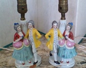 Pair of Vintage Victorian Bedside Lamps  Occupied Japan... Fire Decorated 22KT. Gold