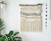 """Large Woven Tapestry Wall Hanging, Macramé Wall Hanging, Mid Century Modern """"Geo"""""""