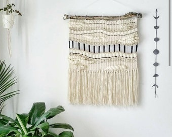 Large Woven Tapestry Wall Hanging, Macramé Wall Hanging, Mid Century Modern