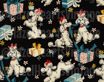 Vintage Poodle Wrapping Paper, White Poodle, Birthday, Birthday Present, Mid Century Modern, Kitsch, Vintage poodle, Daisies, French Poodle