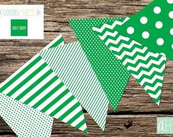 Printable Assorted Pennant Flag Banner: Kelly Green (Instant Digital Download)