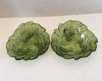 Vintage Indiana Glass Co Olive Green Loganberry Bowls Set of Two Triangular Leaf Design Candy Dish
