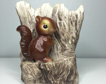vintage ceramic planter with squirrel