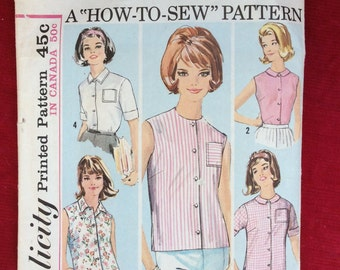 Simplicity Sewing Pattern Blouses 5285 Vintage Size 10