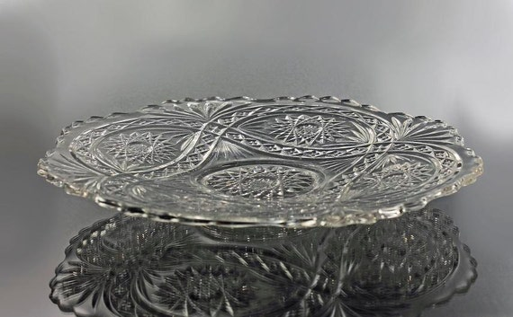 Antique EAPG Footed Sandwich Plate, Imperial Glass, Clear Hobstar Pattern, Sandwich Platter, Pressed Glass, Star & Fan