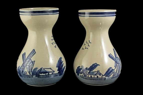 Delft Style Vases, Blue and White, Set of 2