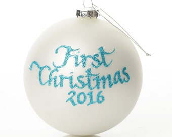 My First Christmas Boy Pearl Personalised Christmas Bauble