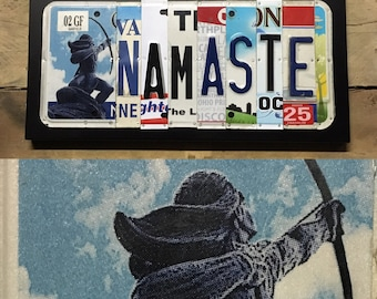 Namaste license Plate Sign - License Plate Wall Art - Wall Decor Rustic Apple Art as seen in Country Living Magazine, Free  Shipping in USA