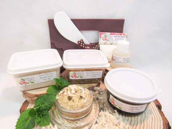 Natural Peppermint Coconut Scrub Sugaring Paste Deluxe Starter Kit