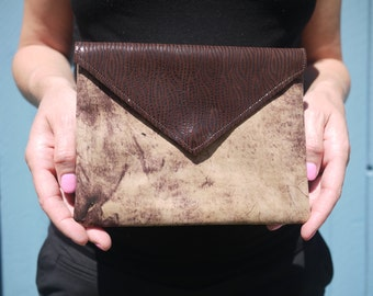 Soft brown leather small clutch bag
