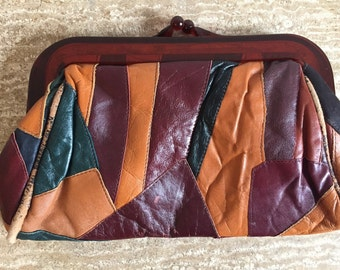 Vintage patchwork leather clutch