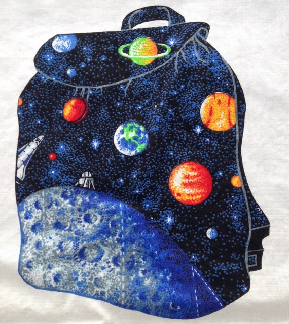 Outer space solar system moon pocket backpack fabric panel for Outer space fabric panel