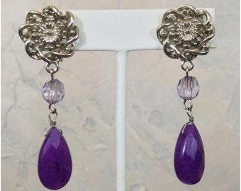Silver tone and purple teardrop long dangle earrings