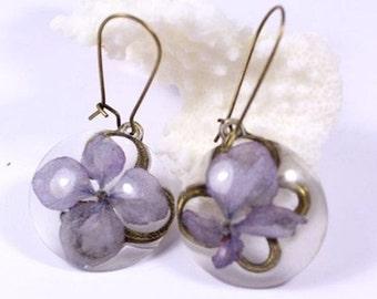 purple earrings/for/her purple jewelry gift/for/aunt rustic earrings terrarium jewelry/for/grandma gift/for/mother flower earrings gift сп5