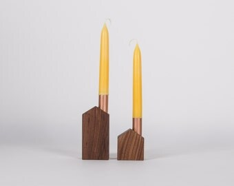 Set of 2 candlesticks House-candlesticks in wood (black walnut) and copper