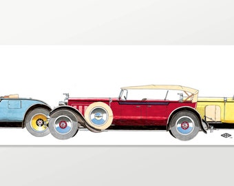 """PACKARD painting print CLASSIC 1920s Packards illustration """"Red Phaeton"""" Limited Edition 9"""" x 34"""" print Free shipping! Vintage Packard art"""