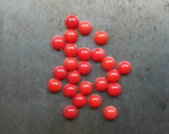 5mm Vintage Red Glass Cabochons, 10 pieces, red glass cabs, red cabs, small cabs, small cabochons, round red stones, small red stones