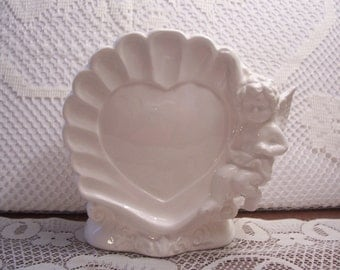 Valentine Heart Shaped Planter with Cherub, Japan