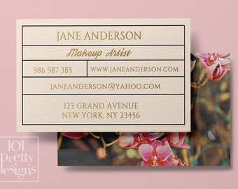 Floral business card design, custom business card template, printable business card design premade business card,  flowers elegant graphic