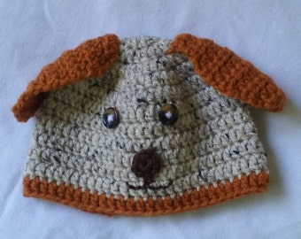 Puppy-designed baby hat in oatmeal and rust colors for newborn to 6-month old babies