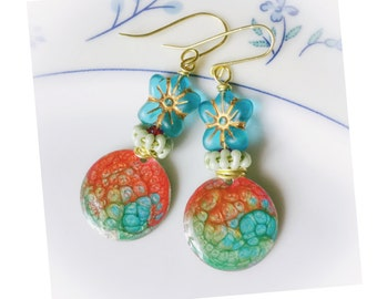 Shiver me timbers -long beaded , artisan beads, earrings, hand crafted