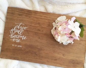 Wedding guest book alternative | wood wedding guestbook | two shall become one