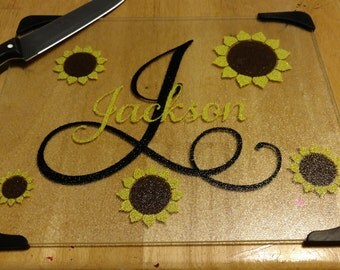 """Personalized Glass Cutting board (11"""" x 15"""") with initial, name and sunflowers in your choice of colors"""