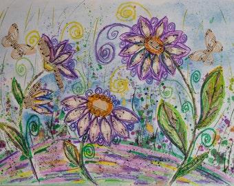 Art on Sheet Music, sheet music wall art, Girls Room Art, Kids Room Art, Wall Art, baby room art, nursery room art, mixed media art, Fairy